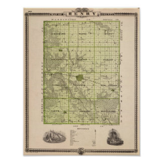 Map of Henry County, State of Iowa Poster