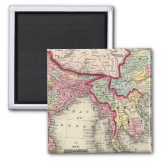 Map Of Hindoostan, Farther India, China, and Tibet 2 Inch Square Magnet
