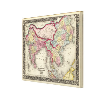 Map Of Hindoostan, Farther India, China, and Tibet Canvas Print