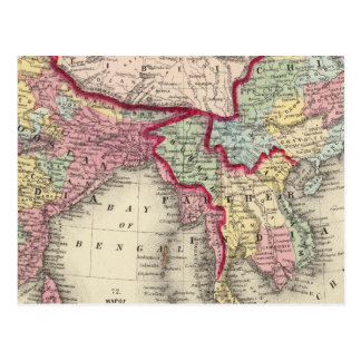 Map Of Hindoostan, Farther India, China, and Tibet Postcard