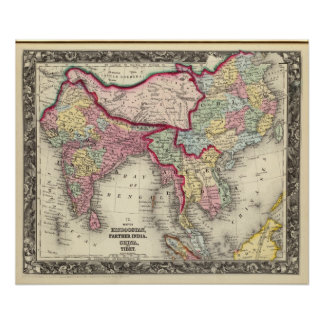 Map Of Hindoostan, Farther India, China, and Tibet Poster