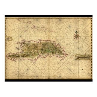 Map of Hispaniola and Puerto Rico Islands (1639) Postcard