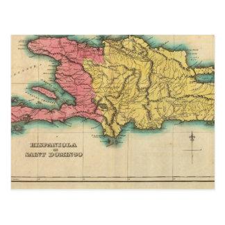 Map Of Hispaniola, Or St Domingo Postcard