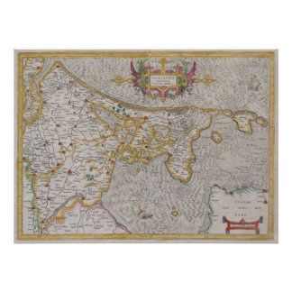 Map of Holland 1606 - by Gerard Mercator Poster