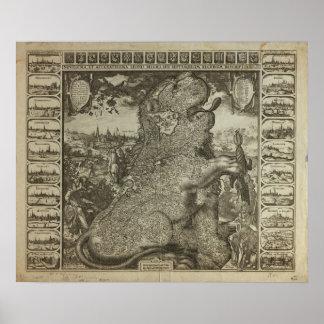Map of Holland 1609 - Claes Jansz Visscher Poster