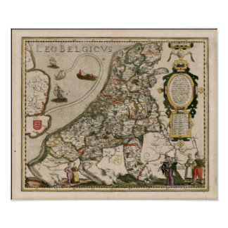 Map of Holland 1617 - Leo Belgicus Poster