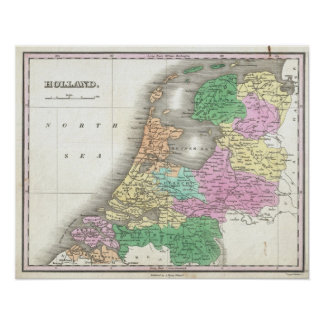 Map of Holland 1727 - by Anthony Finley Poster