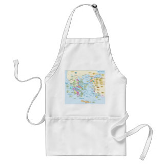Map of Homeric Era Greece with English labels Adult Apron