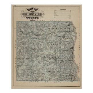Map of Houston County, Minnesota Posters