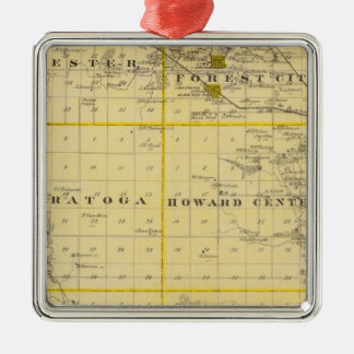 Map of Howard County, State of Iowa Square Metal Christmas Ornament