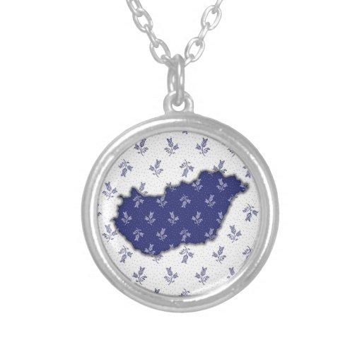 Map of Hungary from Blue-Dye Folk Art Pattern Round Pendant Necklace