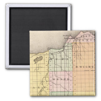 Map of Huron County, Michigan 2 Inch Square Magnet