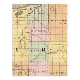 Map of Huron County, Michigan Postcard