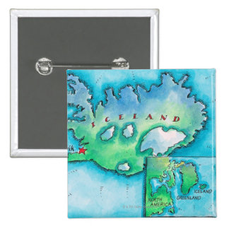 Map of Iceland 2 Inch Square Button