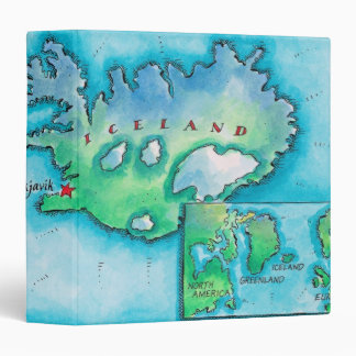 Map of Iceland 3 Ring Binders