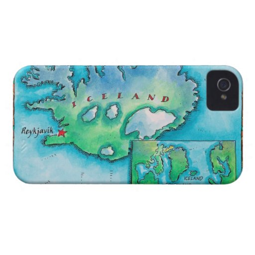 Map of Iceland iPhone 4 Covers