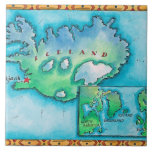 Map of Iceland Large Square Tile
