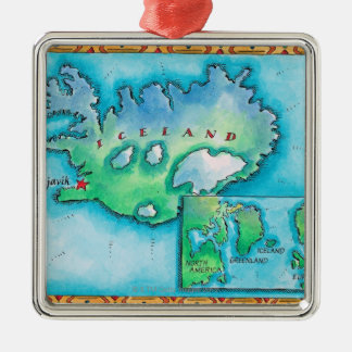 Map of Iceland Metal Ornament