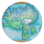 Map of Iceland Party Plate