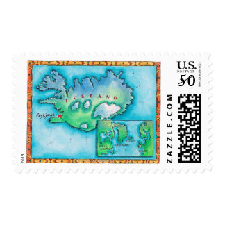Map of Iceland Postage