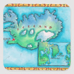 Map of Iceland Square Stickers