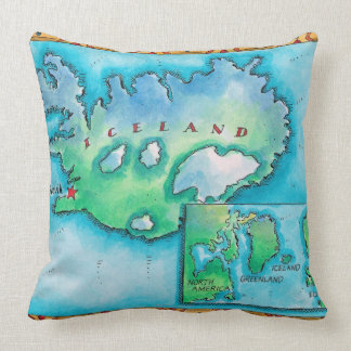 Map of Iceland Throw Pillow