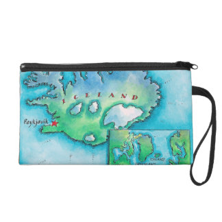 Map of Iceland Wristlet Purse