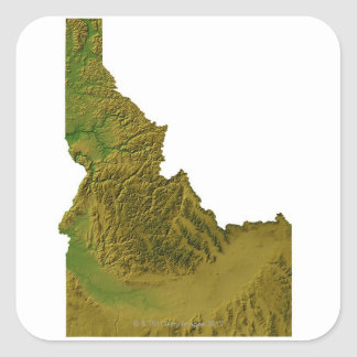 Map of Idaho 2 Square Sticker