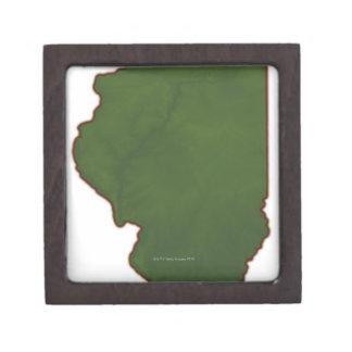 Map of Illinois 2 Jewelry Box