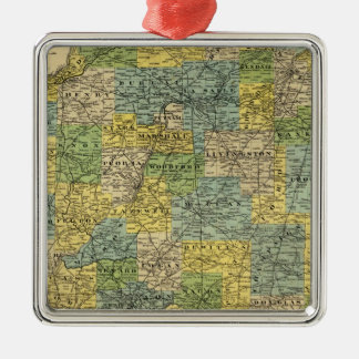 Map of Illinois 2 Metal Ornament