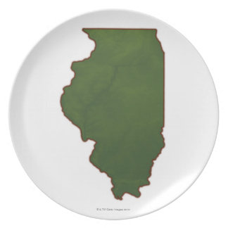 Map of Illinois 2 Party Plate