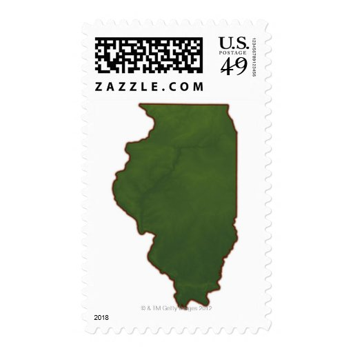 Map of Illinois 2 Postage Stamps