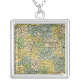 Map of Illinois 2 Square Pendant Necklace
