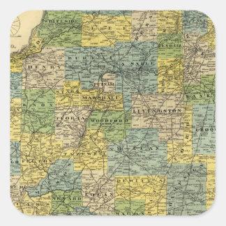 Map of Illinois 2 Square Sticker