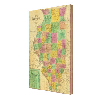 Map of Illinois 3 Stretched Canvas Prints