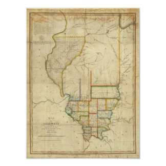 Map of Illinois 3 Poster