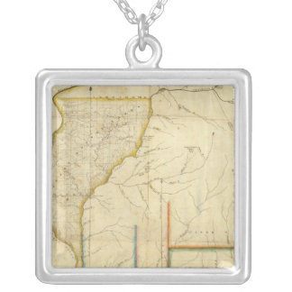 Map of Illinois 3 Silver Plated Necklace