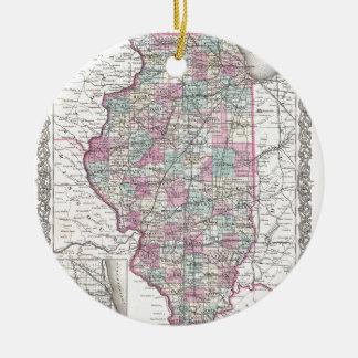 Map of Illinois, Joseph Hutchins Colton Ceramic Ornament