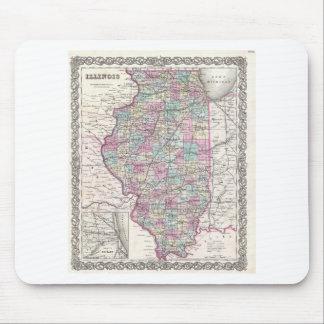 Map of Illinois, Joseph Hutchins Colton Mouse Pad