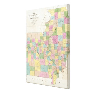 Map of Illinois & Missouri Canvas Print
