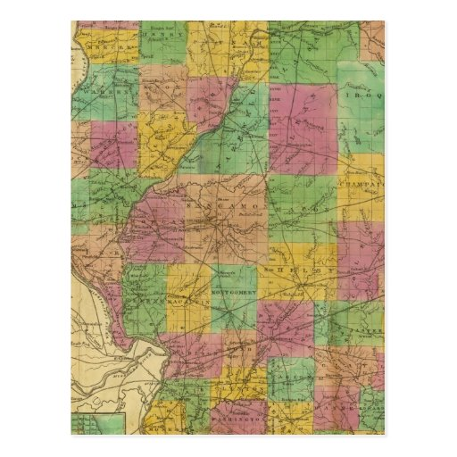 Map of Illinois Post Cards