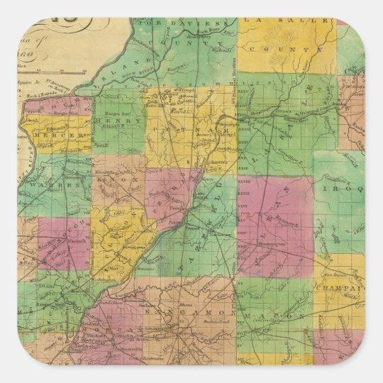 Map of Illinois Square Sticker