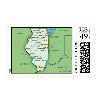 Map of Illinois US Postage Stamps