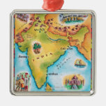 Map of India Square Metal Christmas Ornament