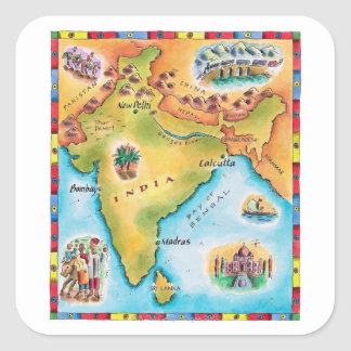 Map of India Square Sticker