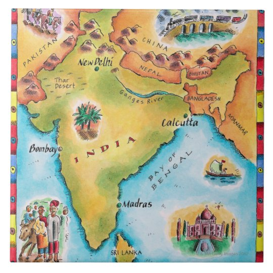 Map of India Tile