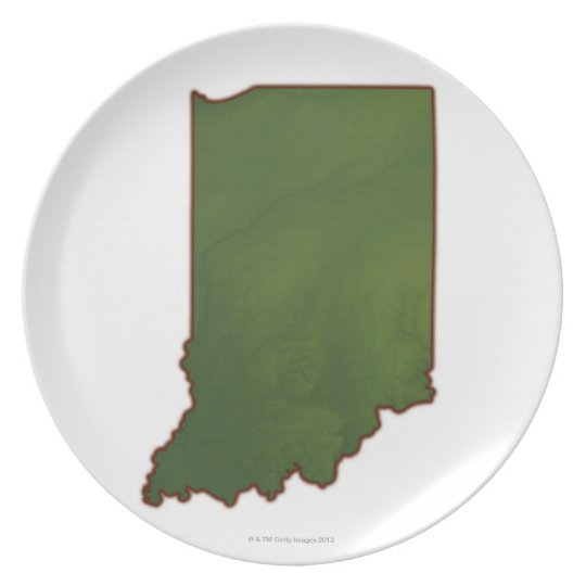 Map of Indiana 3 Dinner Plate