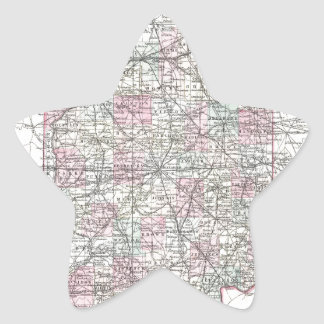 Map of Indiana. Joseph Hutchins Colton Star Sticker