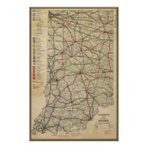 Map of Indiana's Railroad System, Circa 1897 Poster