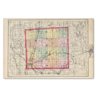 """Map of Ingham County, Michigan 10"""" X 15"""" Tissue Paper"""